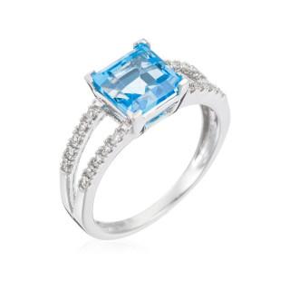 Bague Or Blanc 375 SOMPTUEUSE TOPAZE Diamants 0,12 carat et Topaze 1,5 carat