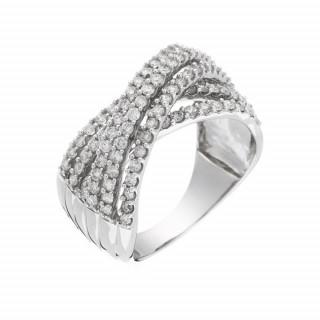 Bague Or Blanc 375 ENTRELACS SPLENDIDES Diamants 1 carat