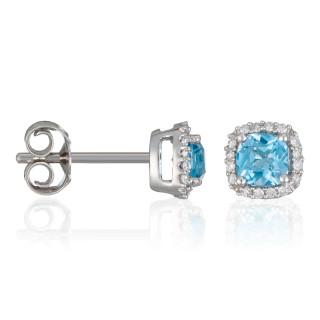 Boucles d'oreilles Or Blanc POPI COUSSIN  Topazes 0,6 carat et Diamants 0,07 carat