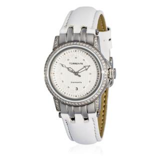 Torrente - Montre Magnetic Cadran Blanc - Boîtier Acier - Bracelet Cuir Blanc - Diamants 0.01 carats Femme