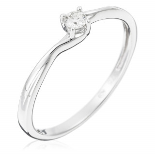 Solitaire Or Blanc 375 TOURBILLON Diamants 0,1 carat