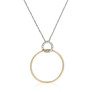 Pendentif Or Bicolore ACROBATE Diamants 0,09 carat + chaine argent offerte