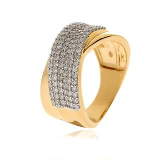 Bague Or Jaune 375 DAME Diamants 0,75 carat