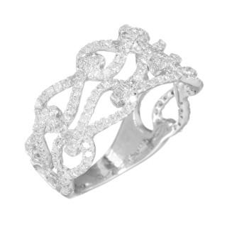 Bague Or Blanc 375 MULTIBOUCLES Diamants 0,85 carat