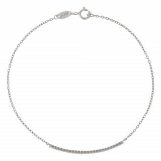 Bracelet chaine or blanc et oxydes de zirconium Barette or blanc