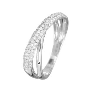 Bague Or Blanc 375 DOUBLE TOUR Diamants 0,29 carat