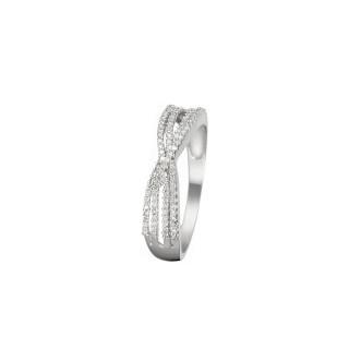 Bague Or Blanc 375 CROISILLONS DE DIAMANTS Diamants 0,18 carat