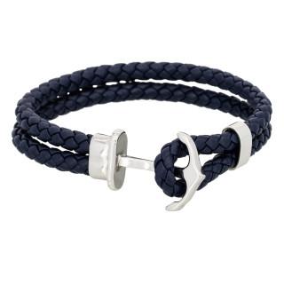 Bracelet Homme double tour cuir bleu marine ANCHOR