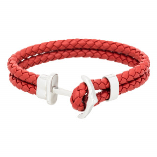 Bracelet Homme double tour cuir rouge ANCHOR