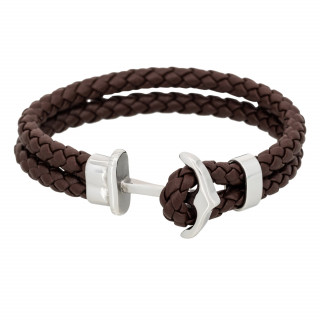 Bracelet Homme double tour cuir marron ANCHOR