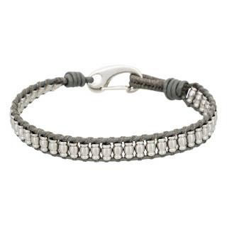 Bracelet Homme acier et cuir gris GREY WAX CORD