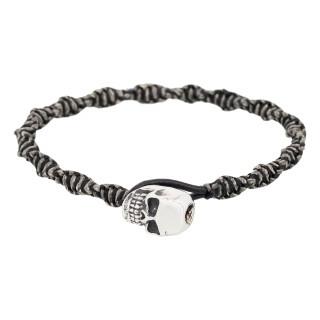 Bracelet Homme acier et cuir noir BLACKMOOD