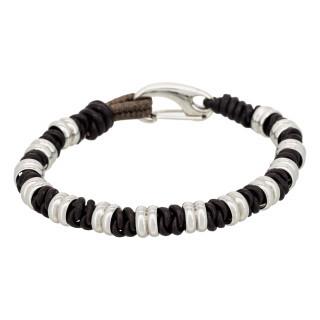 Bracelet Homme acier et cuir marron EDDY
