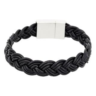 Bracelet Homme cuir noir BLACK LEATHER BRAID