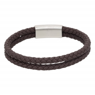 Bracelet Homme double tour cuir marron HOOKS