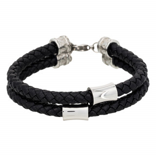 Bracelet Homme double tour cuir noir STAN