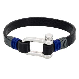 Bracelet Homme acier et cuir noir DARK BLUE