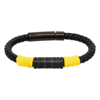 Bracelet Homme cuir noir et détail jaune YELLOW ROPE