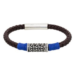 Bracelet Homme cuir marron et détail bleu BLUE ROPE