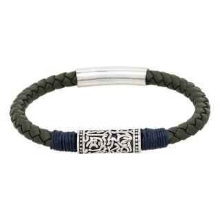 Bracelet Homme cuir vert et détail bleu KAKI ROPE