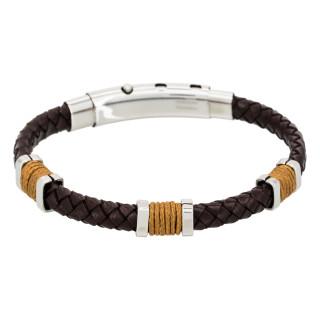 Bracelet Homme acier, cuir marron et corde camel BROWN EYES