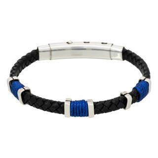 Bracelet Homme acier, cuir noir et corde bleu BLACK EYES