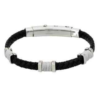 Bracelet Homme acier et cuir noir BLACK EYES