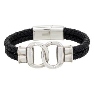 Bracelet Homme double tour cuir noir FIT TOGETHER