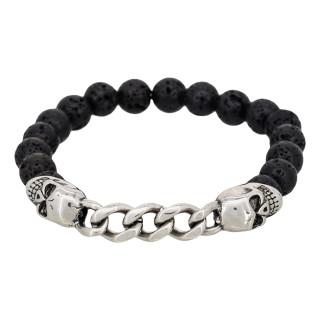 Bracelet Homme élastiqué acier et pierres de lave noir  DARK SHADOWS