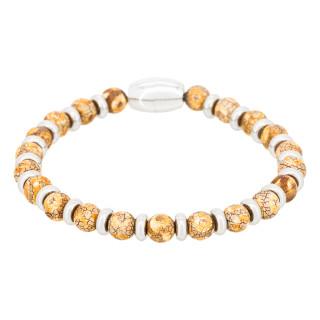 Bracelet Homme acier et pierres d'agate beige SUNRISE