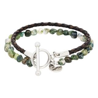 Bracelet Homme double tour cuir et pierres vert BROWN BLEND
