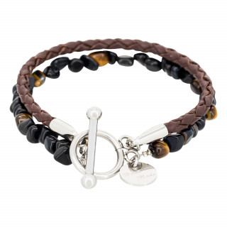 Bracelet Homme double tour cuir oeils de tigre marron BLUE TIGER EYE