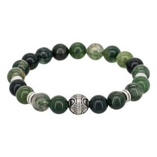 Bracelet Homme élastiqué acier et pierres vertes CLOUD