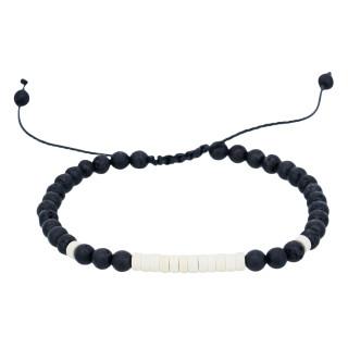 Bracelet Homme ajustable pierres noir et blanc ROCK