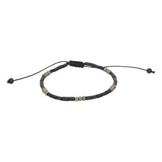 Bracelet Homme ajustable pierres noires STALK