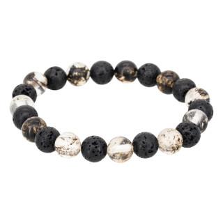 Bracelet Homme élastiqué pierres noires LAVA