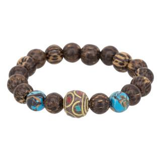 Bracelet Homme élastiqué pierres marrons TWILIGHT