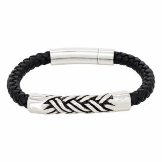 Bracelet Homme acier et cuir noir ACIER TRESSÉ