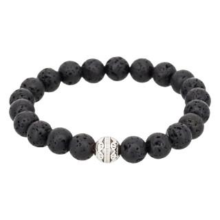Bracelet Homme élastiqué pierres noires VOLCANO