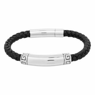 Bracelet Homme cuir noir et acier RICK