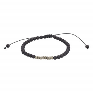 Bracelet Homme ajustable pierres volcaniques BLACK SENS