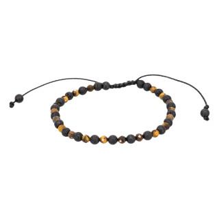 Bracelet Homme ajustable pierres volcaniques et oeil de tigre SAND