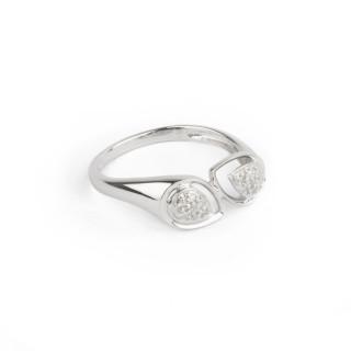 Bague Or Blanc 375 DUAL DROP Diamants 0,007 carat