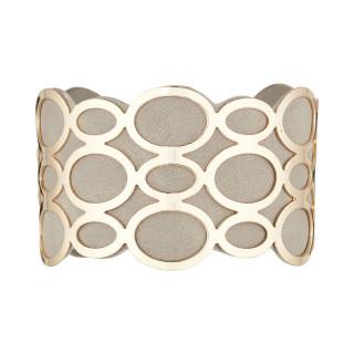 Bracelet manchette PIANA finition dorée simili cuir gris