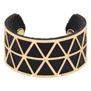 Bracelet manchette STOCKHOLM finition dorée simili cuir noir