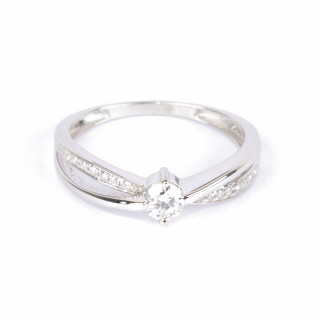 Solitaire Or Blanc 375 JOLI Diamants 0,27 carat