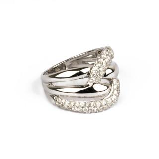 Bague Or Blanc 375 ENTRELACES NELLA Diamants 0,77 carat