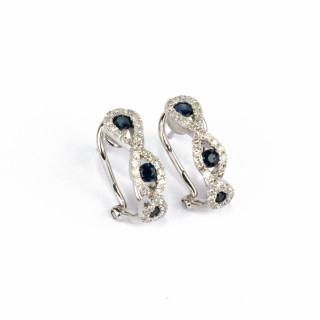 Boucles d'oreilles Saphir Enlacé en Or Blanc 375