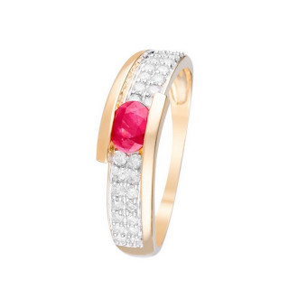 Bague Or Jaune 375 JAIPUR Diamants 0,28 carat et Rubis 0,48 carats