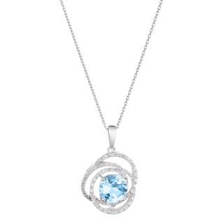 Pendentif Or Blanc SEYCHELLES Diamants 0,17 carat et Topaze 2,25 carat